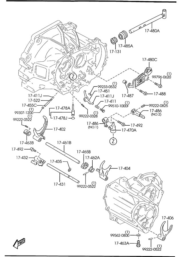 2003 Mazda Protege MANUAL TRANSMISSION CHANGE CONTROL