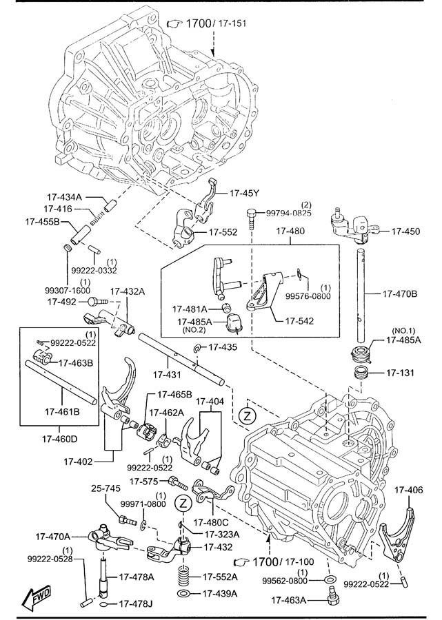 2012 Mazda 2 MANUAL TRANSMISSION CHANGE CONTROL SYSTEM