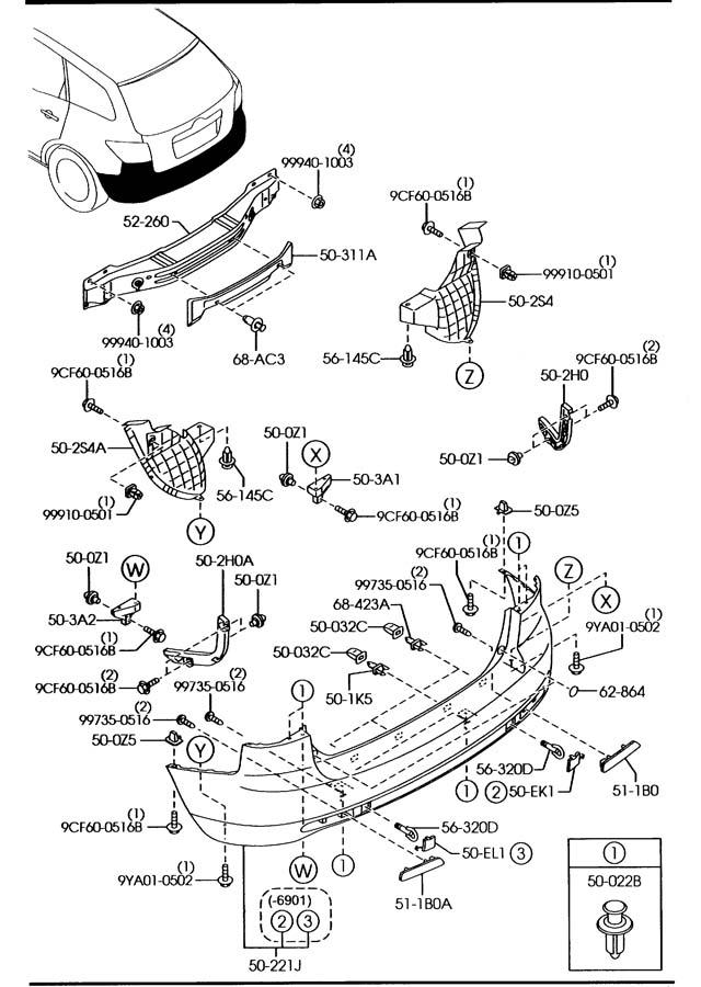 Mazda CX-7 Fastener. Impact, brackets, absorrber