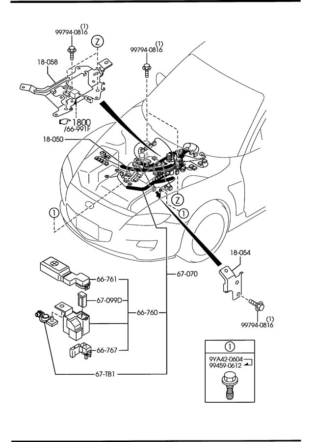 Mazda ENGINE & TRANSMISSION WIRING HARNESSES