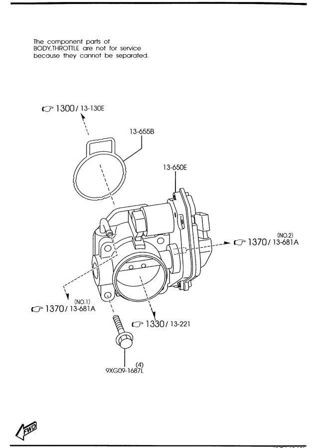2005 Mazda Mazda 6 Body, throttle w/ksr tps. **3.0l