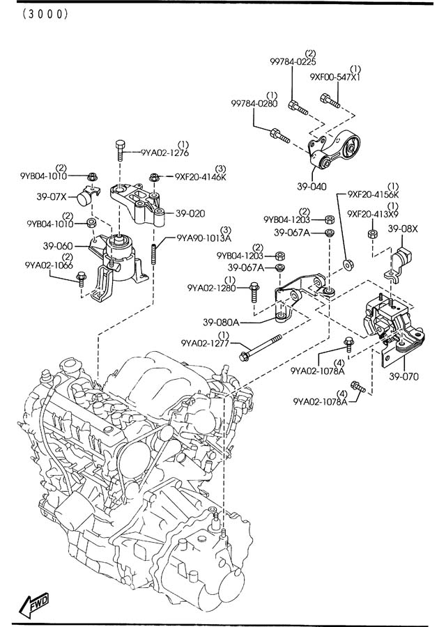 Mazda 3 Motor Mounts Diagram. Mazda. Auto Parts Catalog