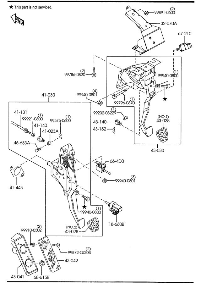Clutch Pedal Assembly Diagram For 2000 Mazda Protege