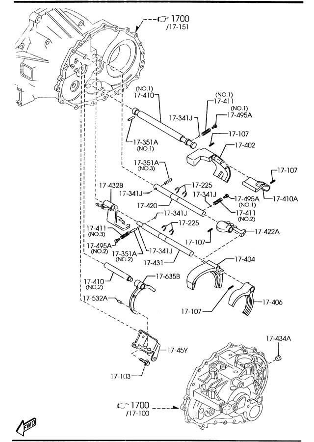2006 Mazda 6 MANUAL TRANSMISSION CHANGE CONTROL SYSTEM