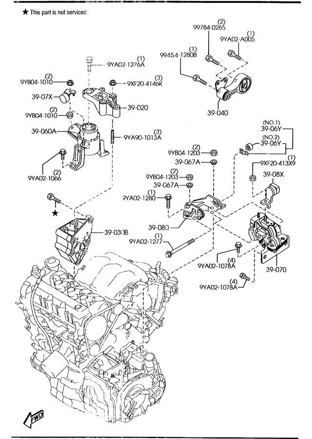 2006 Mazda Mazda 6 Rubber right (r), engine mt