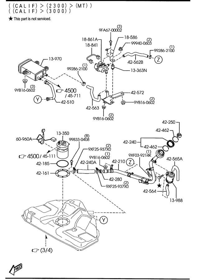 Mazda Mazda 6 Sensor, fuel leakage. Federalcanada
