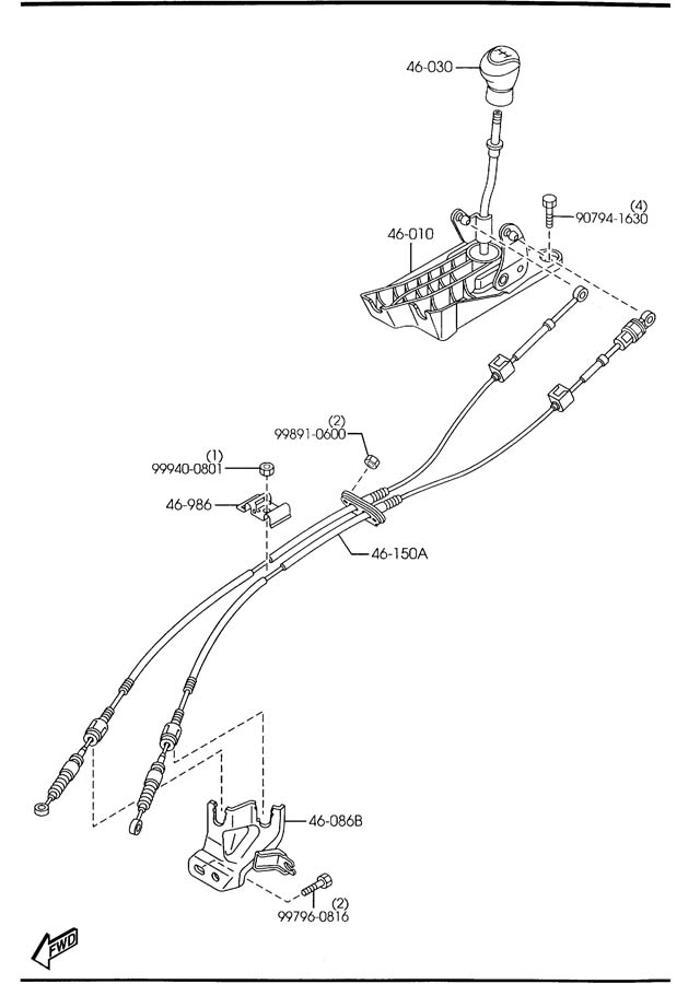 2004 Mazda Manual Transmission Shift Knob. MANUAL, leather