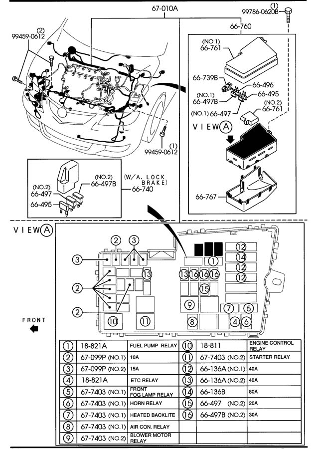 Mazda Mazda 3 Relay, circuit. Opening, etc, level