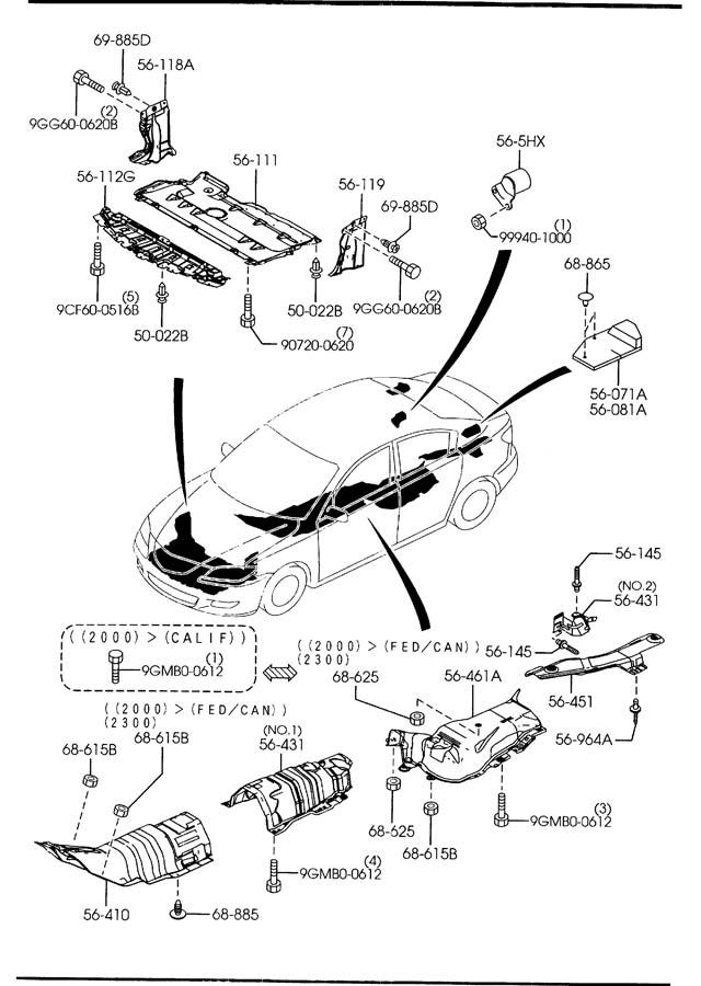 Mazda Mazda 3 Fastener. Clip. Fender. Shield. (Rear