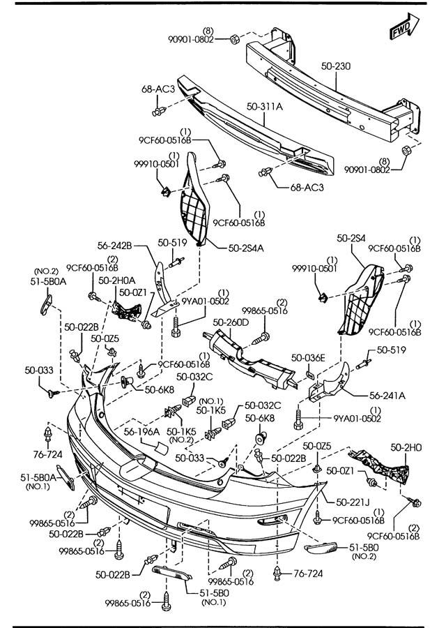 Mazda Mazda 3 Bumper. Cover. Nut. Grommet. Retainer. 2.5