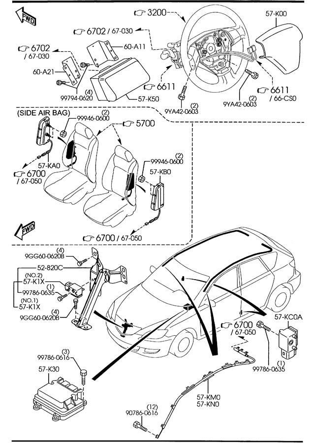 Mazda Mazda 3 Sensor, air bag. Sensors, modules, impact