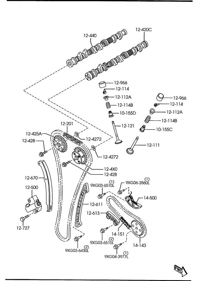 2009 Mazda Miata Engine Timing Chain Tensioner. HEV