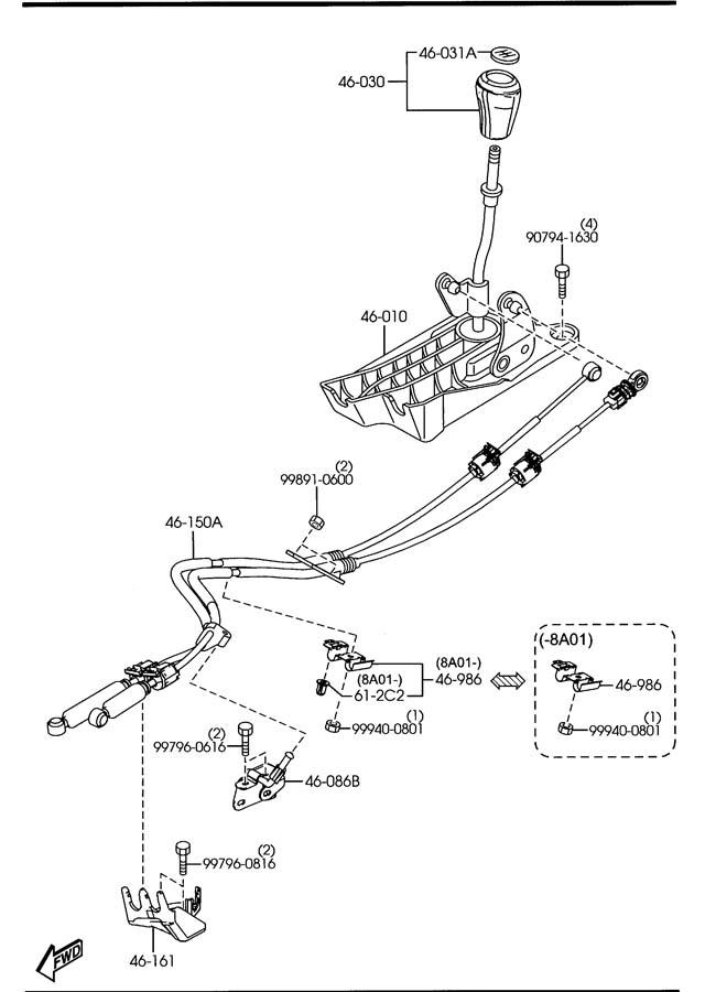2007 Mazda 3 CHANGE CONTROL SYSTEM (MANUAL TRANSMISSION