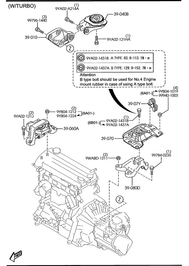 Mazda ENGINE & TRANSMISSION MOUNTINGS (MANUAL TRANSMISSION
