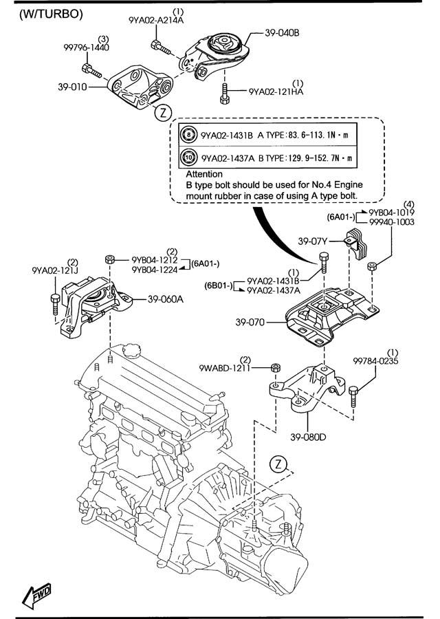 2006 mazda 3 engine mount diagram