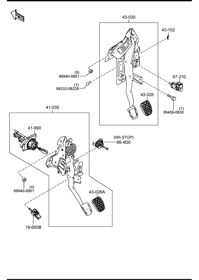 Mazda CLUTCH & BRAKE PEDALS (MANUAL TRANSMISSION)