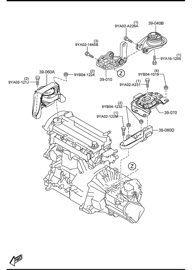 Mazda ENGINE & TRANSMISSION MOUNTINGS (MANUAL TRANSMISSION)