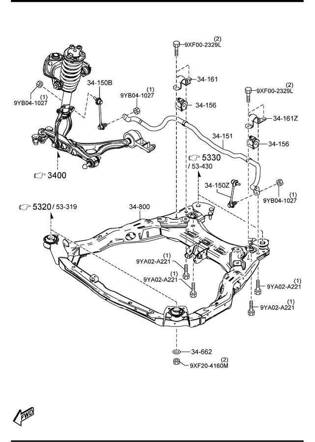 Mazda Mazda 6 Engine Cradle. 2.5 liter. Mazda6; 2.5L