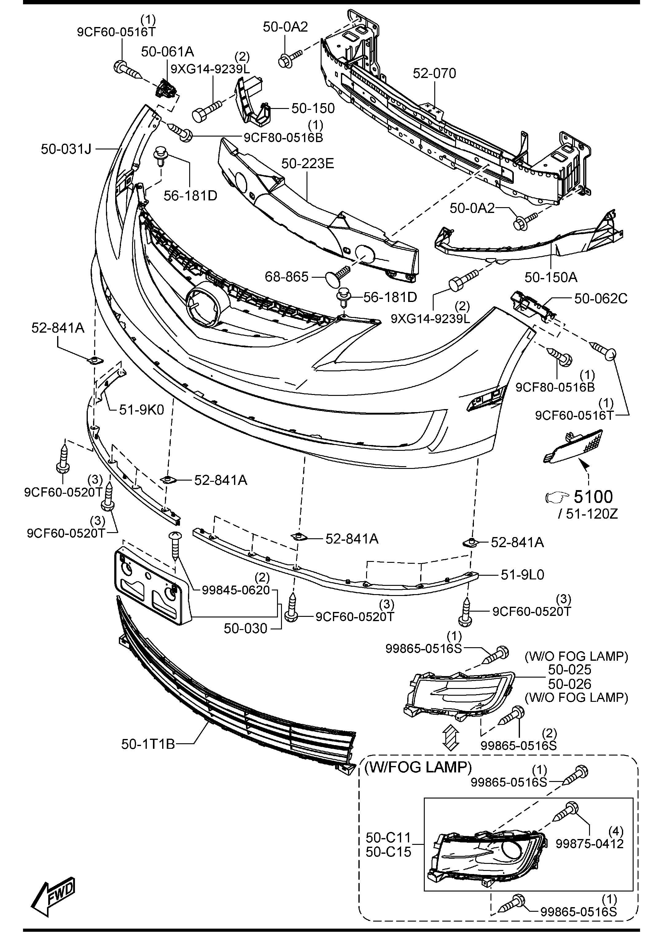 2012 Mazda 6 FRONT BUMPER
