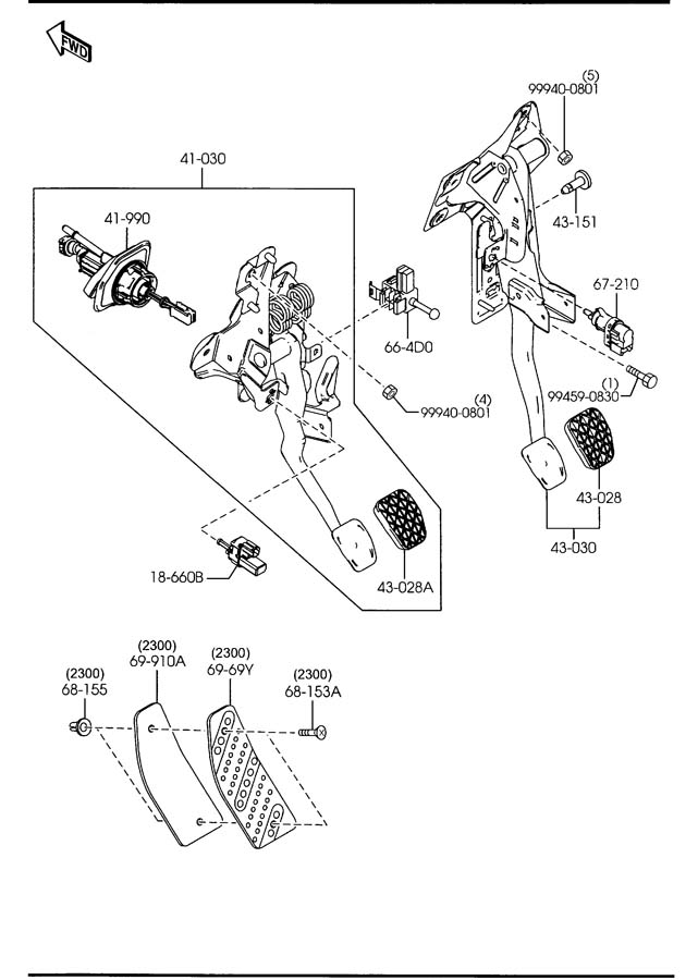 Mazda CLUTCH & BRAKE PEDALS (MANUAL TRANSMISSION)