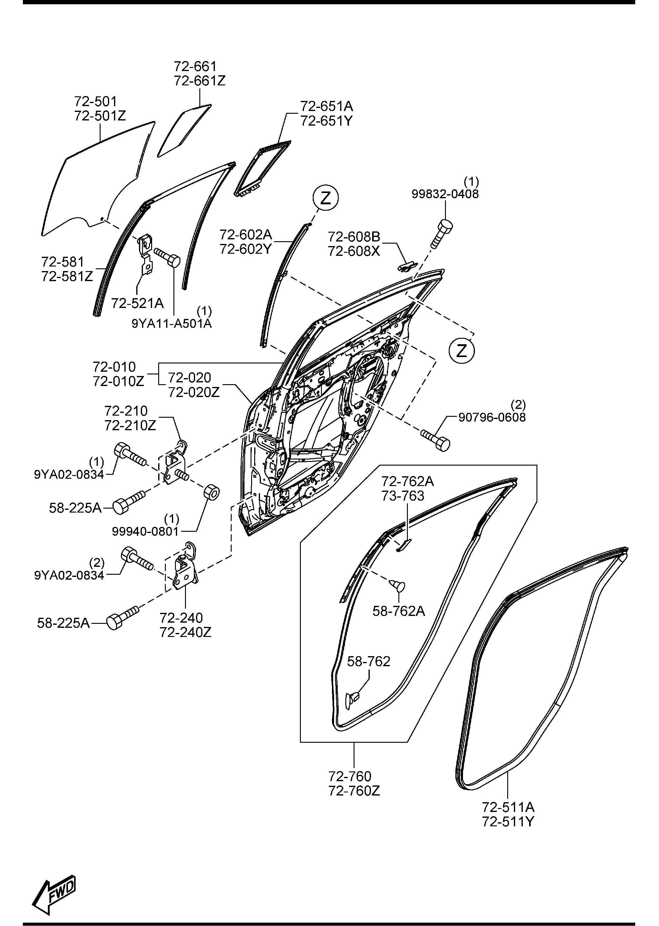 Mazda Rear Doors 4 Door
