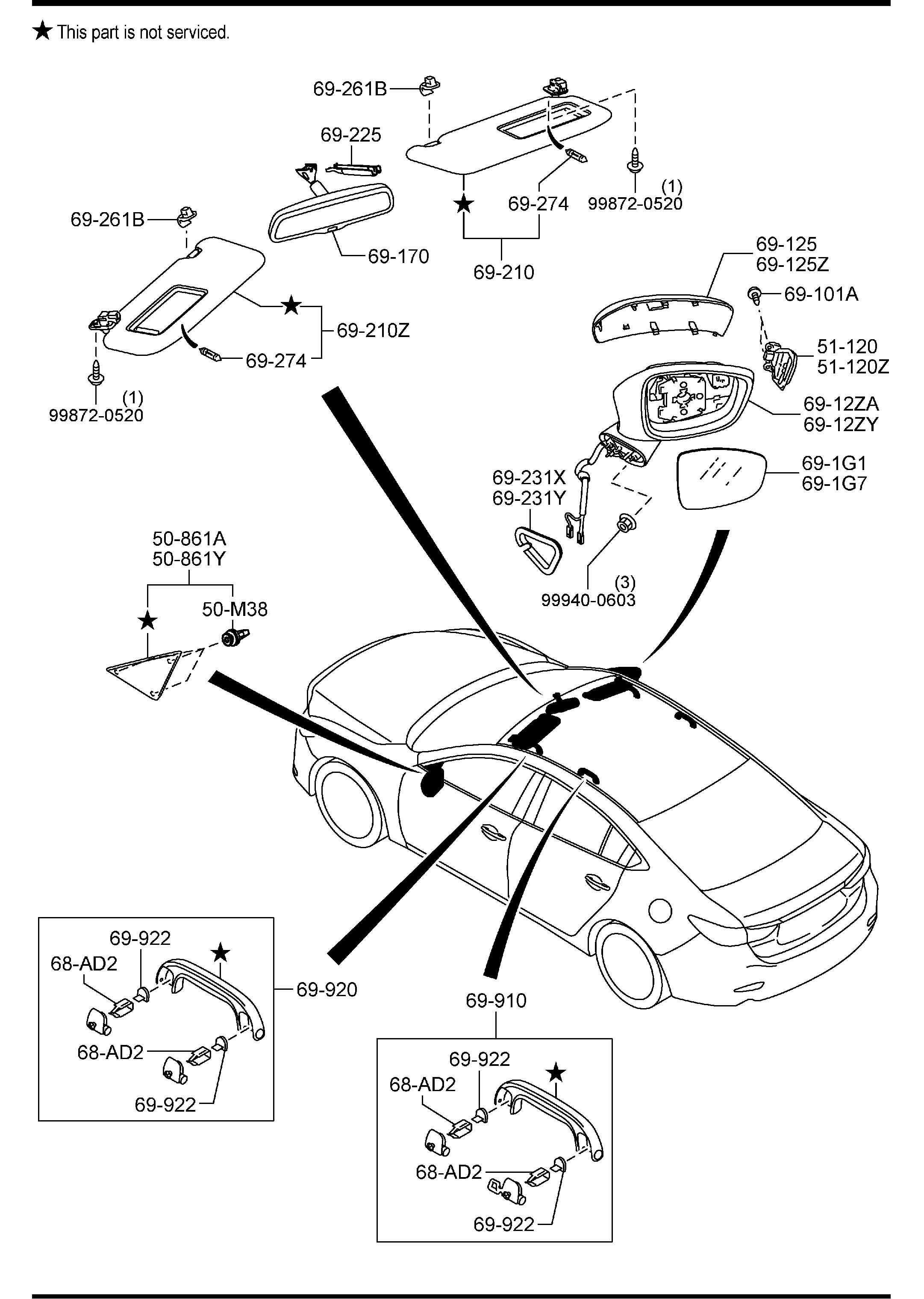 Mazda VISORS,ASSIST HANDLES & MIRRORS