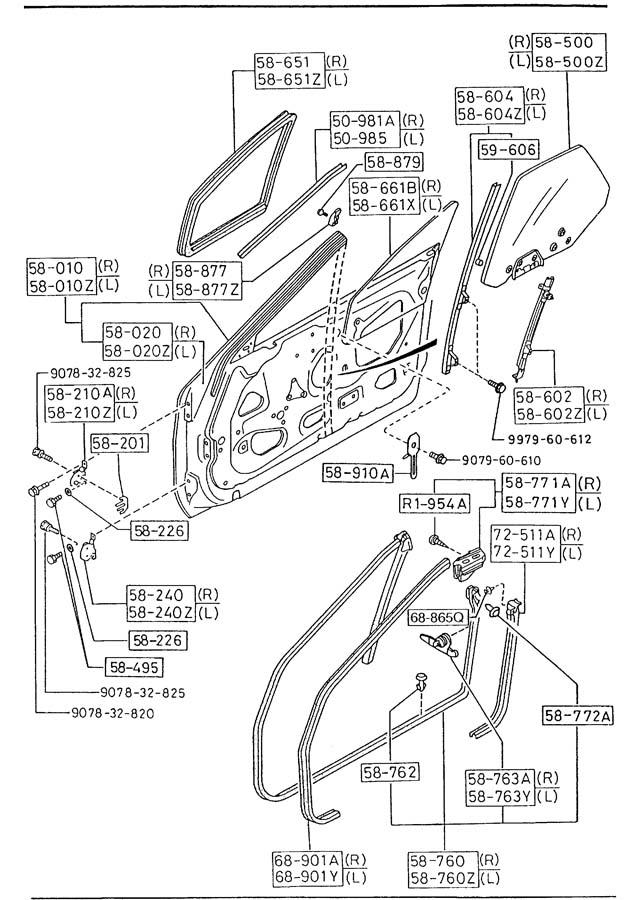 Mazda RX-7 Molding. MOULDING LT, SASH Door. CONVERTIBLE