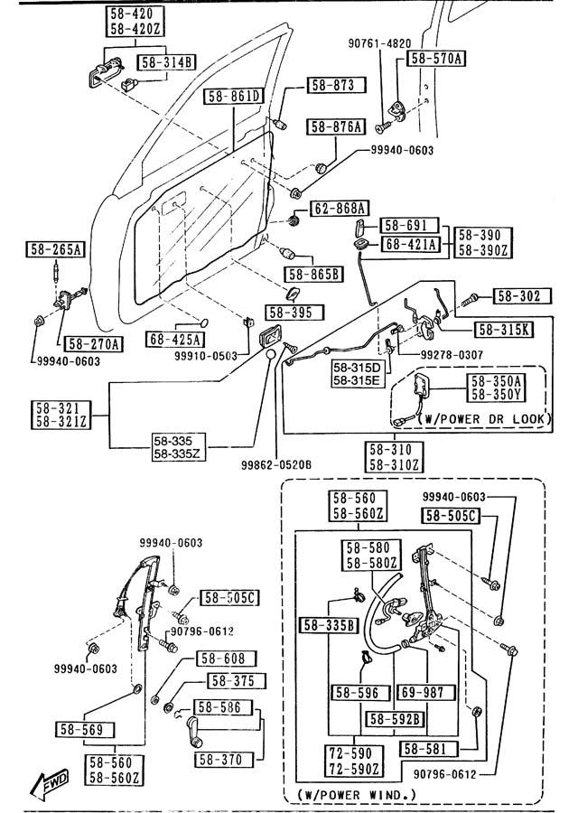 Mazda MPV Motor left (l), window++. Pkgc, pkgb, pkga