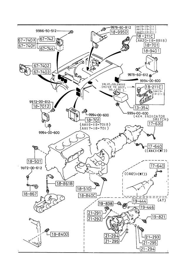Mazda B2200 Control unit, fuel pump. Egiautomatic
