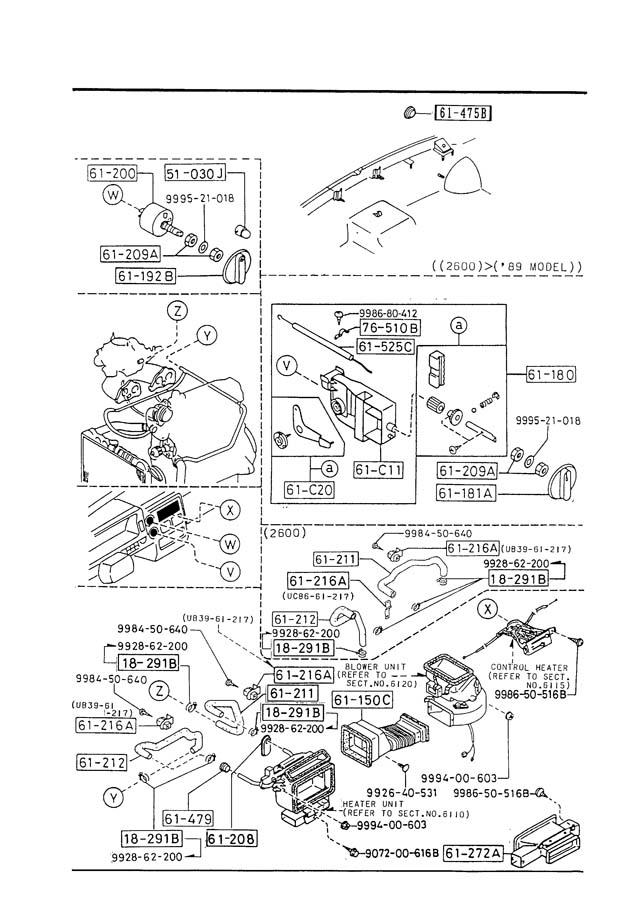 1987 Mazda B2000 Heater control. Lake, ind, denso