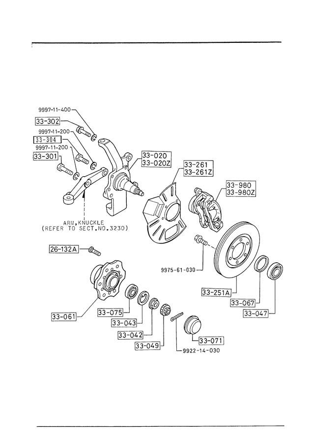 Mazda B2600 Front hub. Hub, wheel. 2wd. All models. B2000