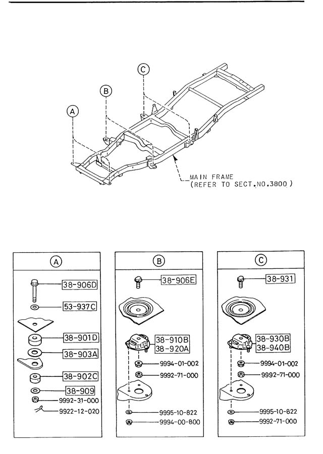 Mazda B2200 Rubber left (lt), cab mount. Cabin