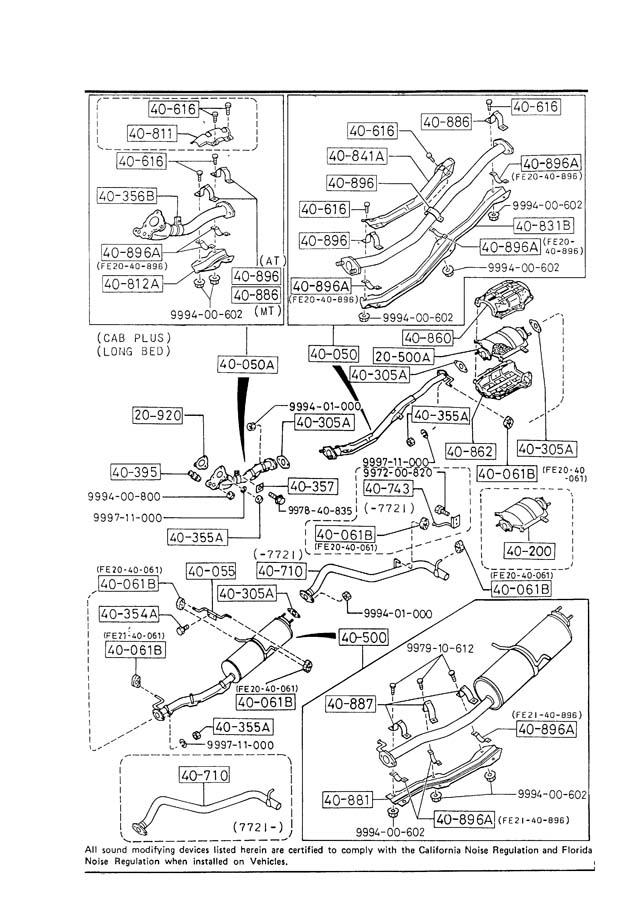 Mazda EXHAUST SYSTEM (2000CC & 2200CC)