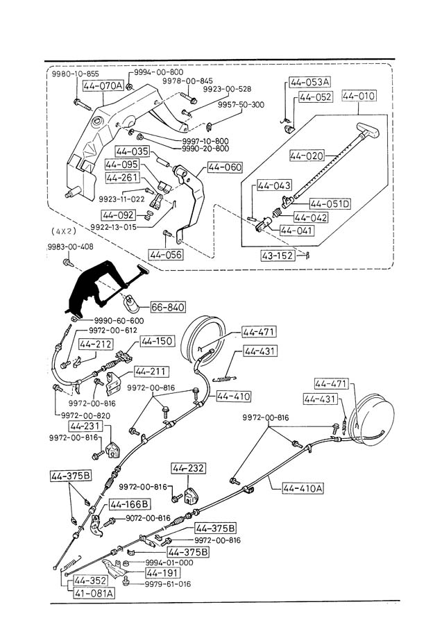 Mazda B2600 PARKING BRAKE SYSTEM