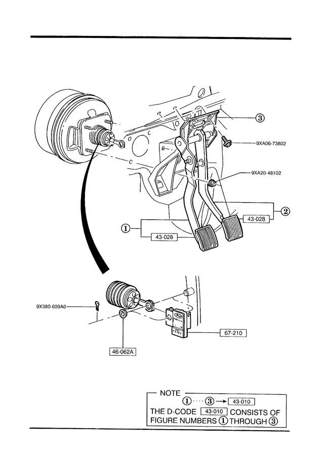 Mazda B4000 CLUCH & BRAKE PEDALS (MANUAL TRANS.)