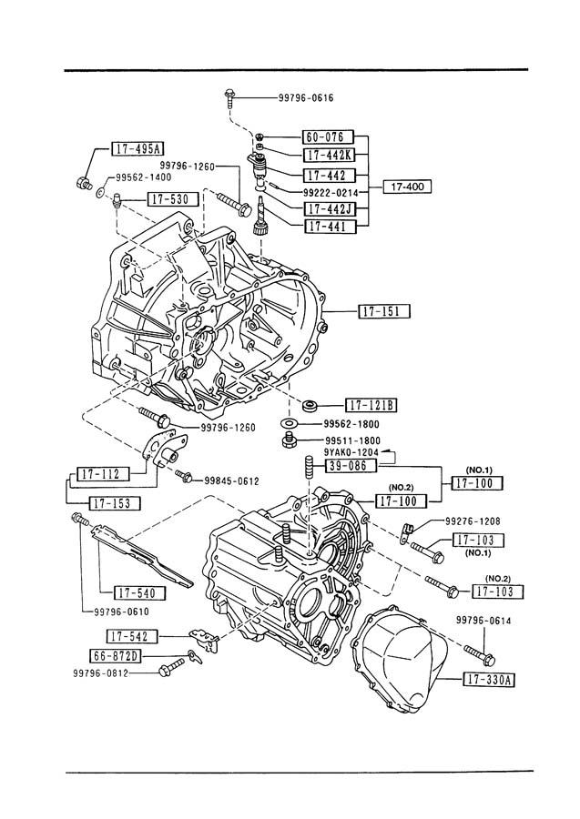 1993 Mazda 323 TRANSMISSION CASE (MANUAL TRANSMISSION 5