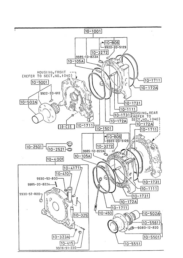 1987 Mazda RX-7 Rotor Housing. (Rear). W/Fuel Injection; w