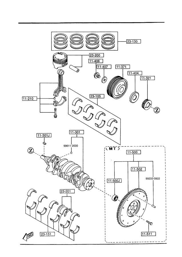 1994 Mazda 626 Engine Crankshaft Pulley. 2.0 LITER, 4