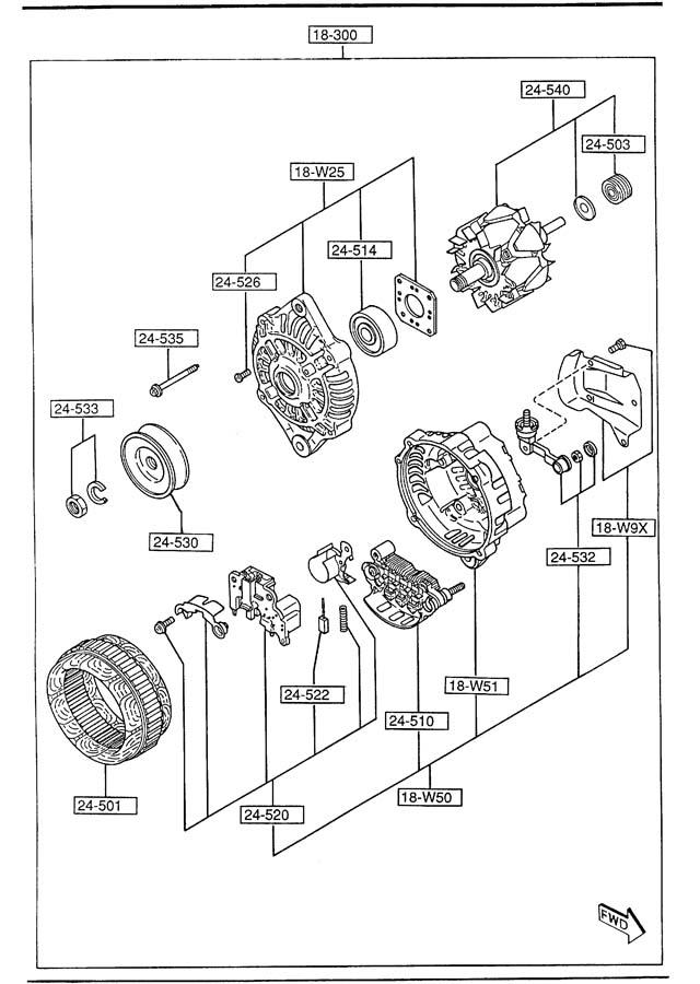 Mazda 626 Rectifier. 626, mx-6; 6 cyl. 626, mx-6; w/o