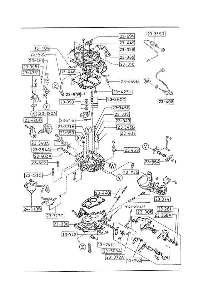 Mazda B2200 Valve, solenoid. Carburetor, gasoline