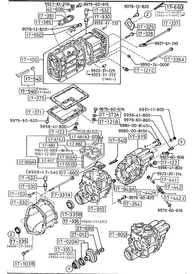 1988 Mazda B2600 MANUAL TRANSMISSION CASE (5-SPEED)(2600CC