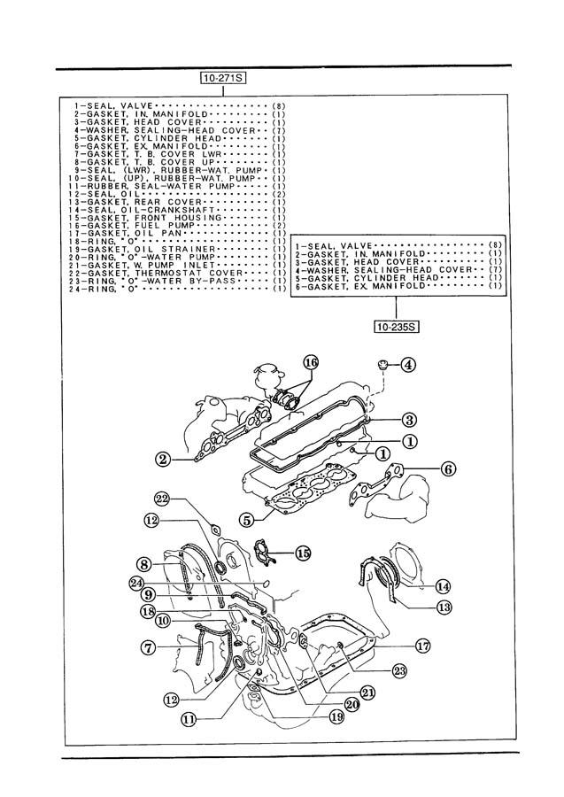 1992 Mazda B2200 Engine Intake Manifold Gasket. 626 & MX-6