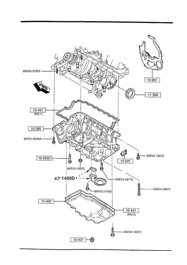 2003 Mazda Drain. Plug. Oil. Engine. 2.0 LITER. 2.3 LITER