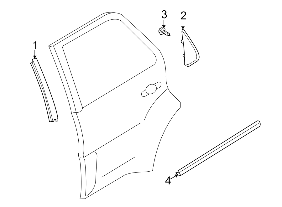 Mazda Tribute Corner trim. GARNISH RIGHT (R), REAR DOOR
