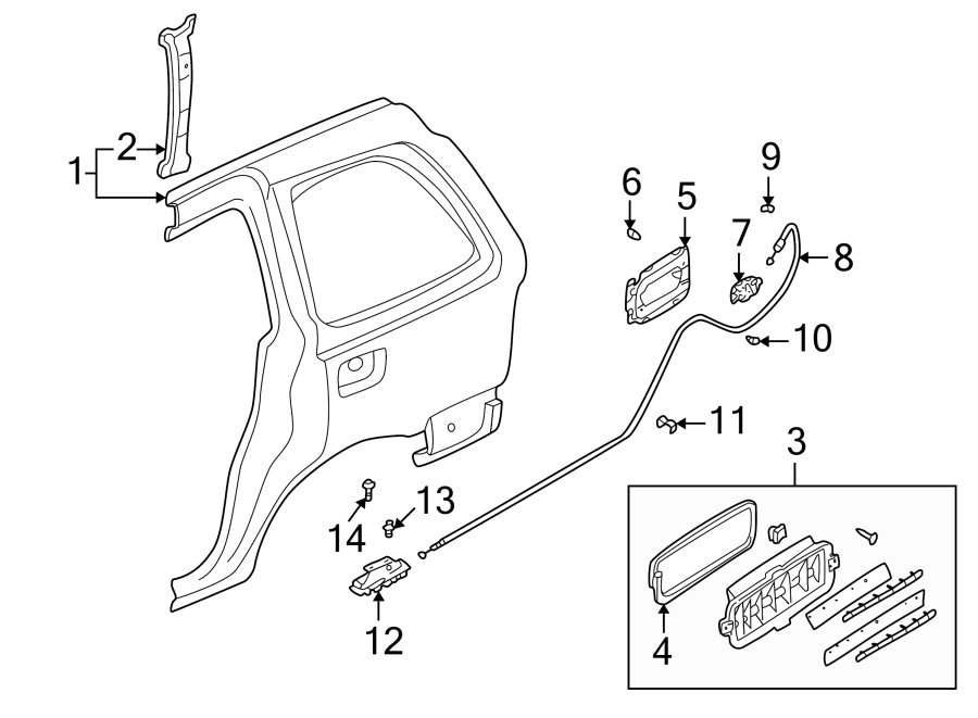 1987 Mazda B2000 Fuel Filler Door Release Cable Clip