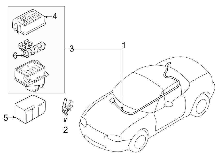2002 Mazda Miata Harness. Engine. Cable. ENGINE