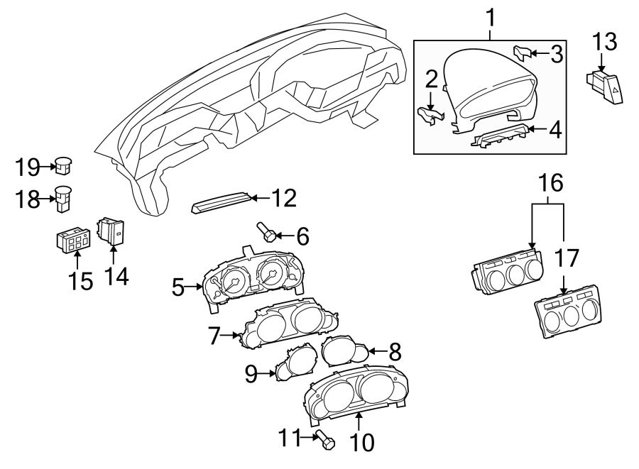 2008 Mazda CX-9 Bolt. Instrument. Panel. INSTRUMENT PANEL
