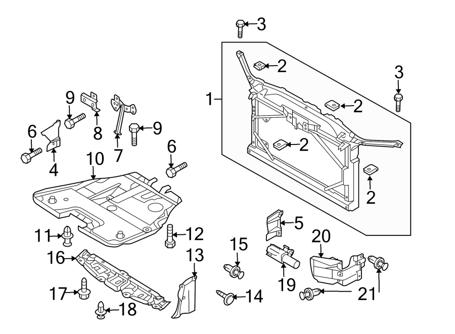 1992 Mazda B2200 Radiator Support Splash Shield Bolt
