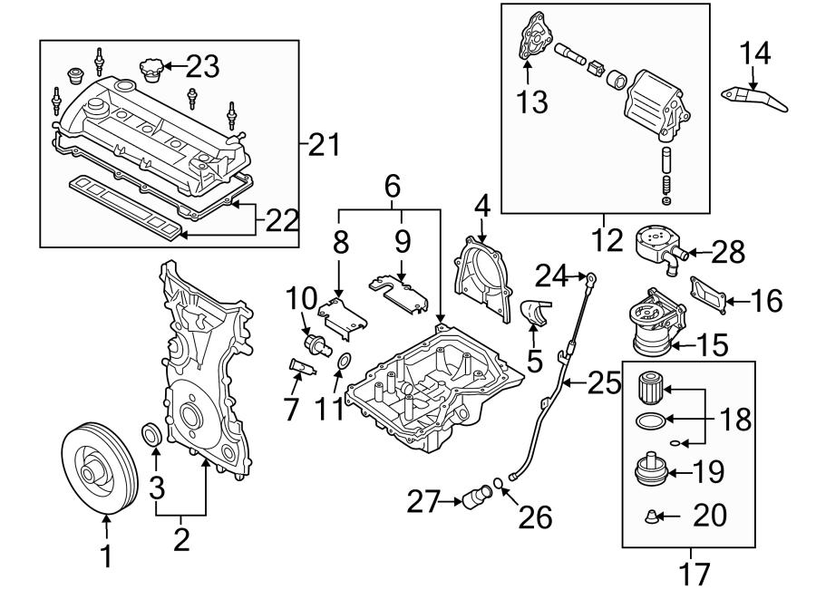 2007 Mazda Mazda 5 Engine Oil Filter Housing (Front). 2.3
