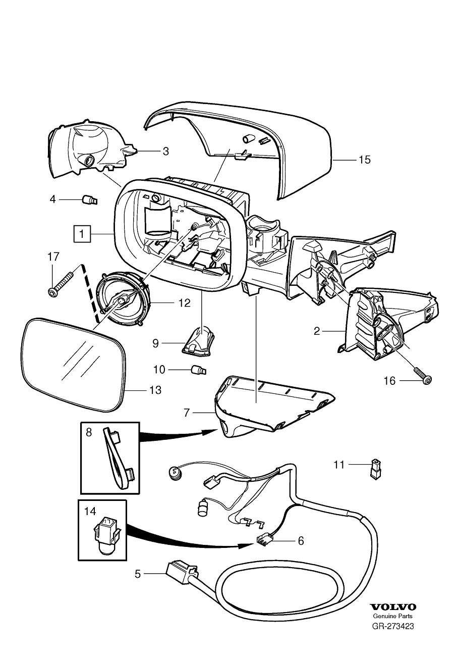 Service manual [Removing Mirror From A 2012 Volvo Xc70